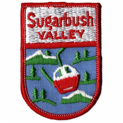 Sugarbush, Vermont Vintage 1970s Collector's Red and White Ski Patch, 2 x 3 inches