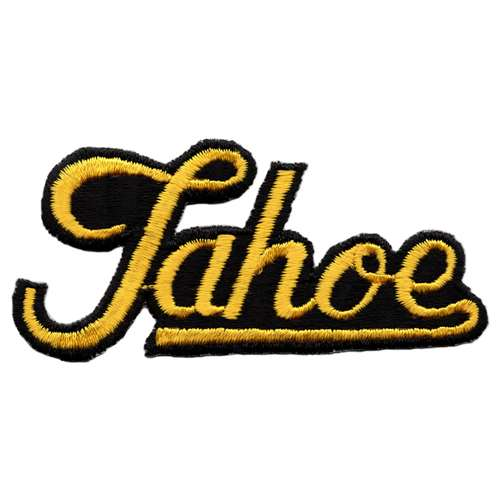 Tahoe, California Vintage 1970s Embroidered Calligraphy Patch, 1 3/4 x 3 3/4 inches