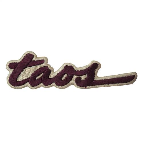 Taos NM Embroidered Ski Patch Maroon on Tan