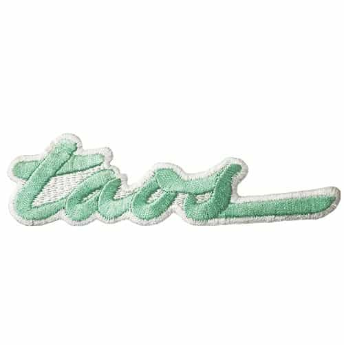 Taos NM Embroidered Vintage Ski Patch Mint Green on White