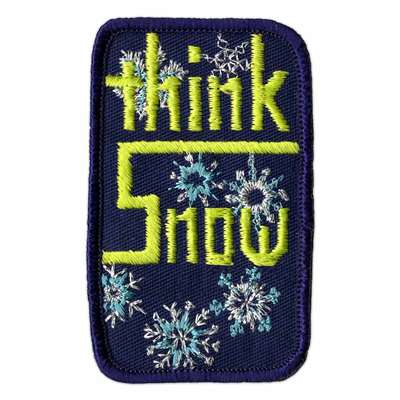 Think Snow Vintage 1970s Blue and Green Ski Patch, 2 x 3 1/4 inches