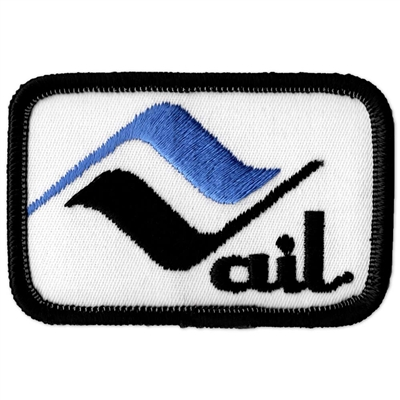 Vail, Colorado 1970s Vintage Black and Blue Embroidered Ski Patch, 2 x 3 inches