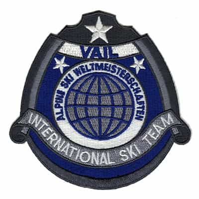 Vail CO International Ski Team Blue Embroidered Patch