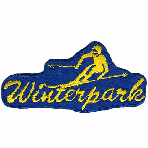 Winter Park CO 1970's Collector Patch Yellow Skier on Blue