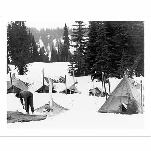 Vintage photo of the 10th Mountain Division Campsite (Black & White or Sepia, 2 Sizes: 8 x 10 and 11 x 14 inches)
