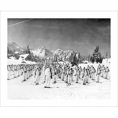 Vintage photo of the 10th Mountain Division Soldiers in Formation (Black & White or Sepia, 2 Sizes: 8 x 10 and 11 x 14 inches)