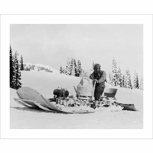 Vintage photo of an Early Snowmobile Tested by the 10th at Camp Hale (Black & White or Sepia, 2 Sizes: 8 x 10 and 11 x 14 inches)