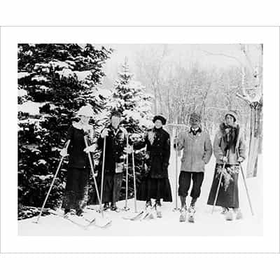 Vintage photo of Carl Howelsen and Girlfriends in Steamboat Springs (Black & White or Sepia, 2 Sizes: 8 x 10 and 11 x 14 inches)