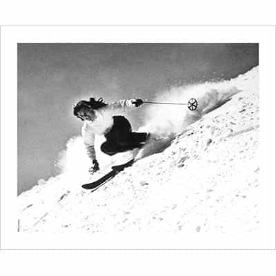 Vintage photo of Olympian Andrea Mead Carving With Style (Black & White or Sepia, 3 Sizes: 8 x 10,  11 x 14 & 16 x 20 inches)