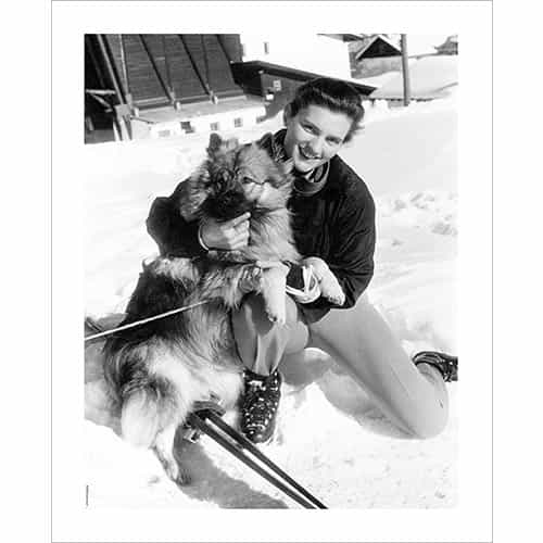 Vintage photo of Olympian Andy Lawrence with her Dog Bota in Cortina, Italy 1956 (Black & White or Sepia, 2 Sizes: 8 x 10 and 11 x 14 inches)