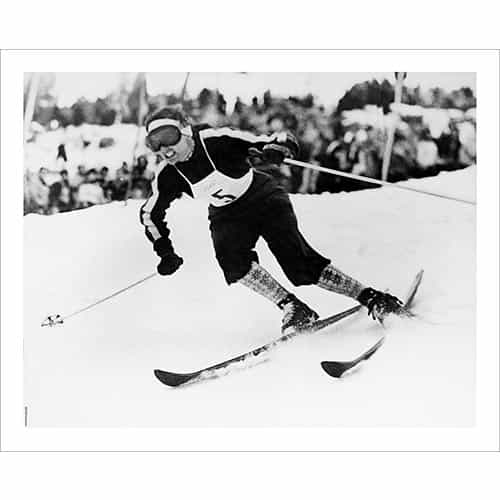 Vintage photo of Olympian Andrea Lawrence Pushing the Ski Racing Limits (Black & White or Sepia, 2 Sizes: 8 x 10 and 11 x 14 inches)