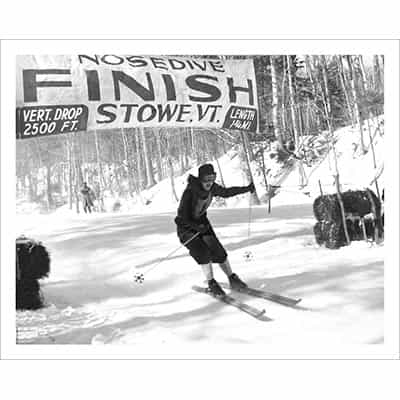 Vintage photo of Olympian Andy Lawrence Finishes the Nosedive Ski Race in Stowe, VT (Black & White or Sepia, 2 Sizes: 8 x 10 and 11 x 14 inches)