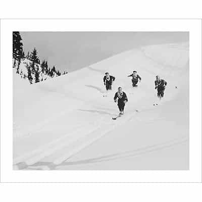 Vintage photo of a Posse of Canadian Rockies Powder Hounds (Black & White or Sepia, 2 Sizes: 8 x 10 and 11 x 14 inches)