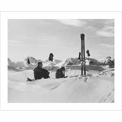 1940s Ski Touring in the Canadian Rockies Black and White Photo 8 x 10 inches, 11 x 14 inches