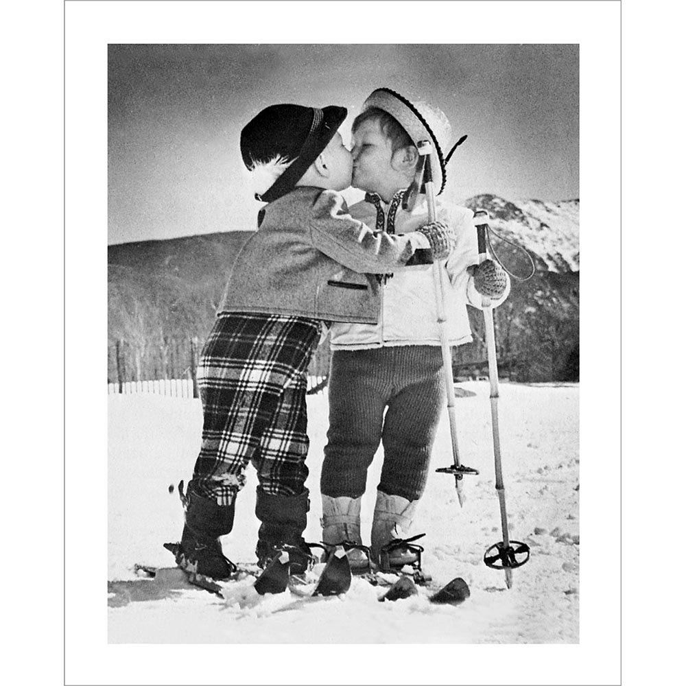 vintage ski photo of kids kissing black and white photo. Black Bedroom Furniture Sets. Home Design Ideas