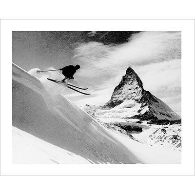 Vintage photo of Matterhorn Skier Gets Some Air (Black & White or Sepia, 2 Sizes: 8 x 10 and 11 x 14 inches)