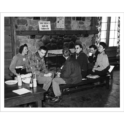 Vintage photo of Après Ski at Moon Valley Ski Area (Black & White or Sepia, 2 Sizes: 8 x 10 and 11 x 14 inches)