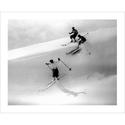 Vintage photo of Powder Skiing in St. Moritz (Black & White or Sepia, 2 Sizes: 8 x 10 and 11 x 14 inches)