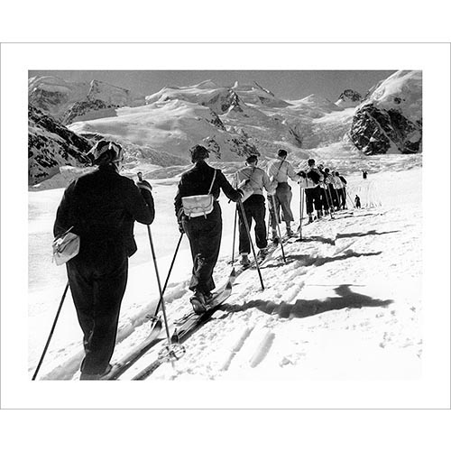 Vintage photo of Ski Touring in St. Moritz (Black & White or Sepia, 2 Sizes: 8 x 10 and 11 x 14 inches)