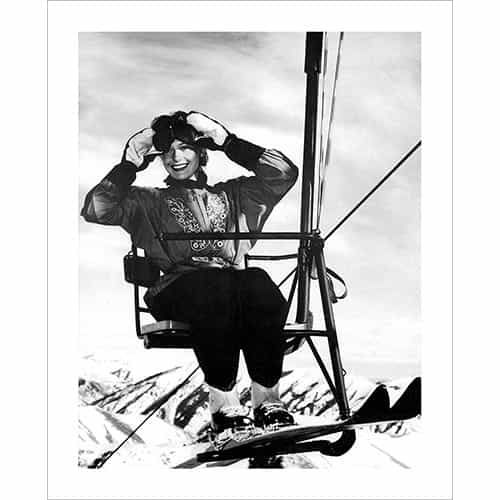 Vintage photo of Sun Valley Single Chair Lift Rider (Black & White or Sepia, 2 Sizes: 8 x 10 and 11 x 14 inches)
