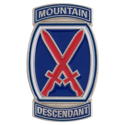 10th Mountain Division Logo Descendant Hat and Backpack Pin