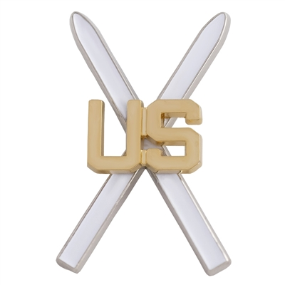 10th Mountain Division US White Cross Skis Hat and Backpack Pin