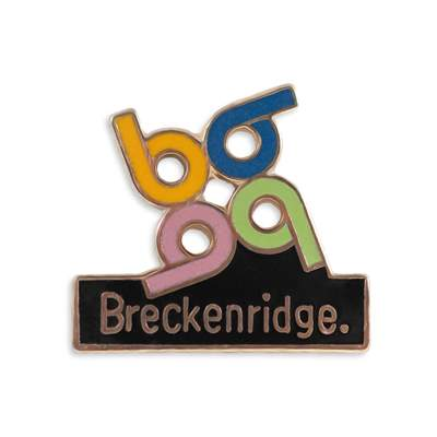 Breckenridge Retro 1970s Ski Pin, 3/4 x 3/4 inches