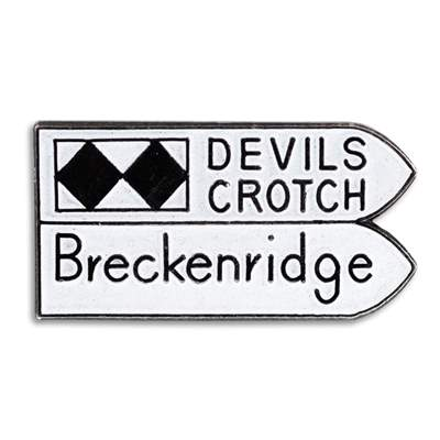 Devils Crotch, Breckenridge Vintage 1970s Ski Pin, 1 x 1/2 inches