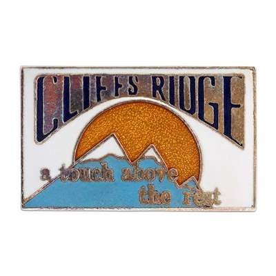 Cliffs Ridge Retro 1970s Ski Area Pin, 3/4 x 1 1/4 inches