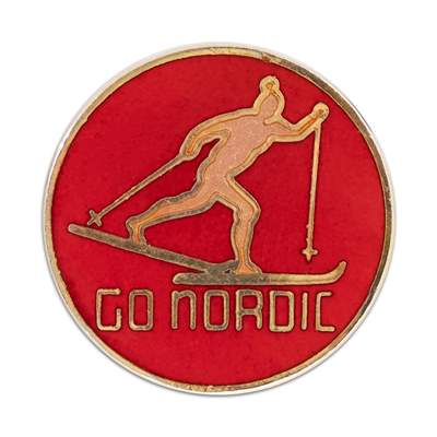 Go Nordic Original 1970s Cross-Country Ski Pin, 3/4 x 3/4 inches