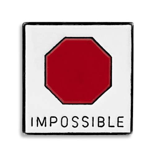 'Impossible' Vintage 1970s Ski Pin, 3/4 x 3/4 inches