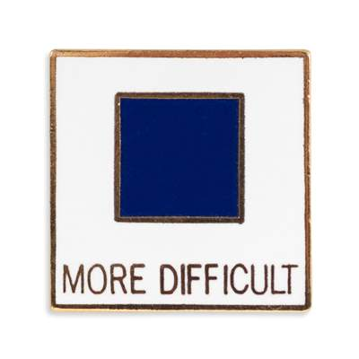 'More Difficult' Vintage 1970s Ski Pin, 3/4 x 3/4 inches