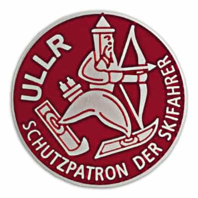 Ullr Red Cloisonne Ski Pin