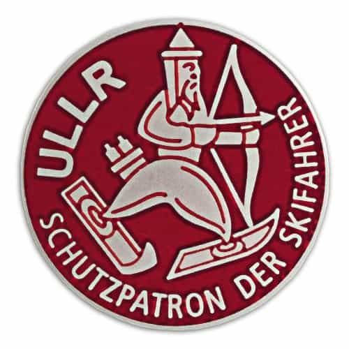 Ullr Red Cloisonne Ski Pin, 1 inch diameter