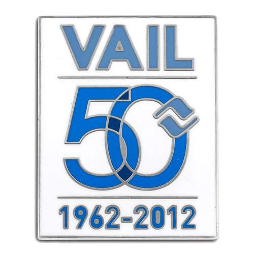 Vail, Colorado Original 50th Anniversary Ski Pin, 1 x 1 1/4 inches