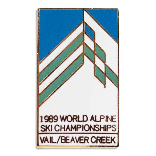 Vail 1989 World Alpine FIS Ski Championships Classic 1970s Ski Pin, 1 x 3/4 inches