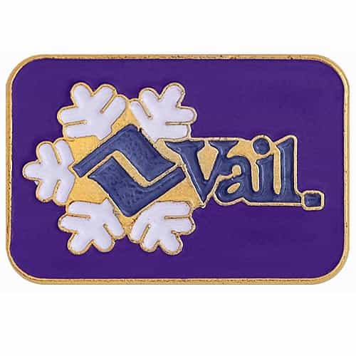 Vail Ski Area Vintage Pin Purple, 3/4 x 1/2 inches