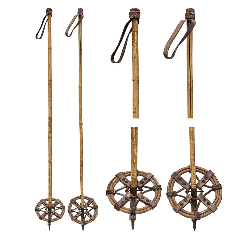 1930's Vintage Bamboo Ski Poles with Bamboo Baskets