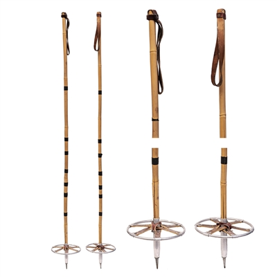 1940s Tonkin Cane Vintage Ski Poles with Leather Baskets, 53 inches
