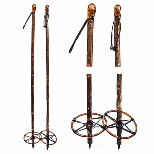 1930s Twig European Vintage Ski Poles with Leather and Cane Baskets