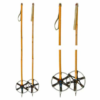 1940s Kids Bamboo Ski Poles with Metal Baskets