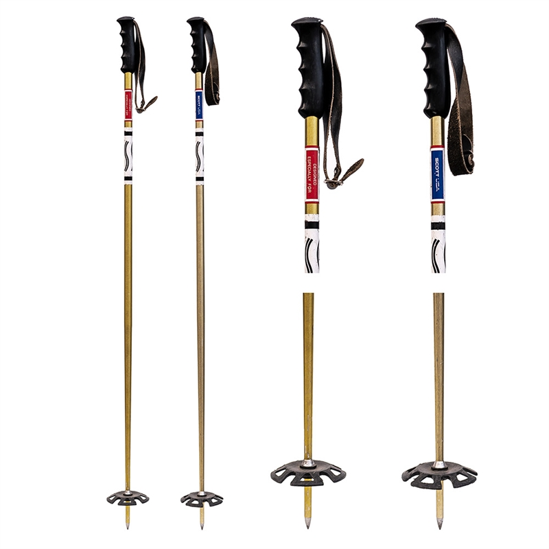 1970s Scott Gold Aluminum Ski Poles with rubber baskets