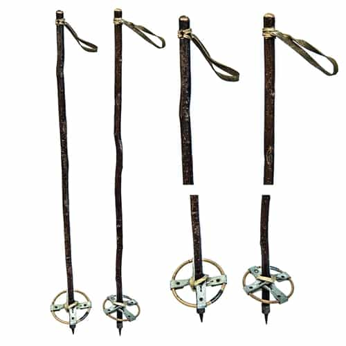 1940's Kids Twig Vintage Ski Poles with Bamboo Baskets
