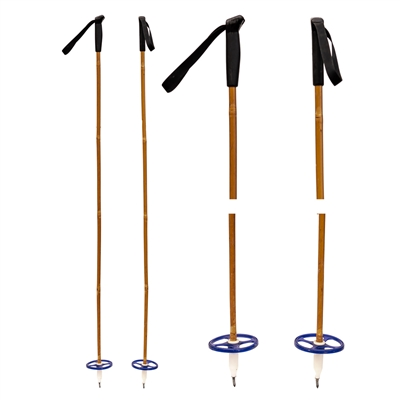 1970s Vintage Nordic Bamboo Ski Poles with Plastic Handles and Baskets, 55 inches