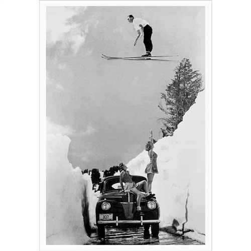 Vintage poster of Babes and Ski Jumper (Black & White or Sepia, 3 Sizes:  20 x 30, 24 x 36 and 30 x 40 inches)