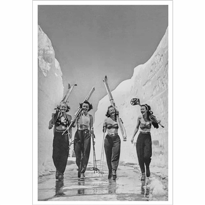 Vintage poster of Babes, Sun, Snow and Skiing, 1940s, 20 x 30 inches (Black & White or Sepia)