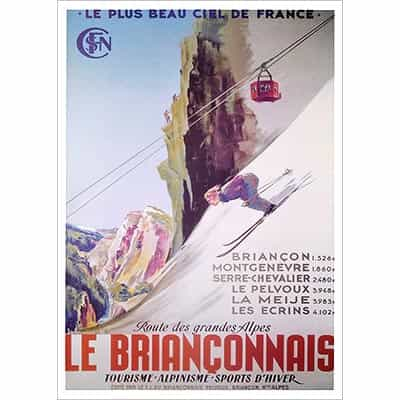 Le Brianconnais Skiing Travel Poster