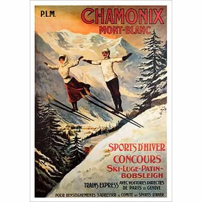 Chamonix Ski Poster - Two Jumpers (2 Sizes)