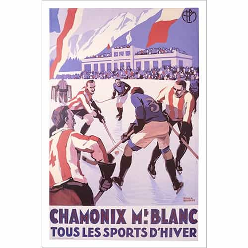 Chamonix 1924 Winter Olympics Hockey Poster
