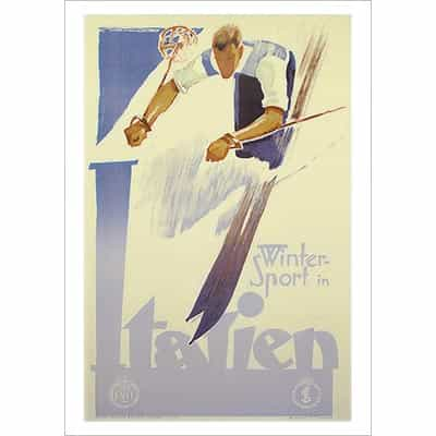 Winter Sports in Italy Ski Poster